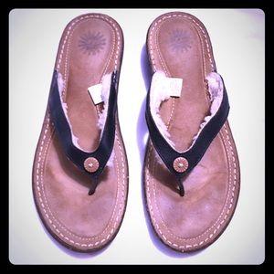 UGG black leather sandals